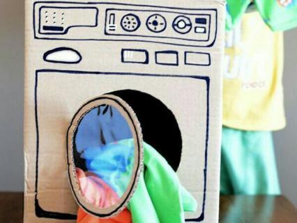 【手作り玩具】手作り洗濯機で遊ぼう