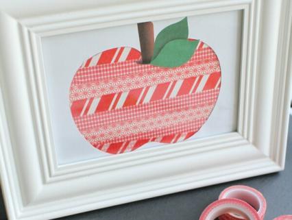 【秋冬の保育製作】マスキングテープで作るリンゴ